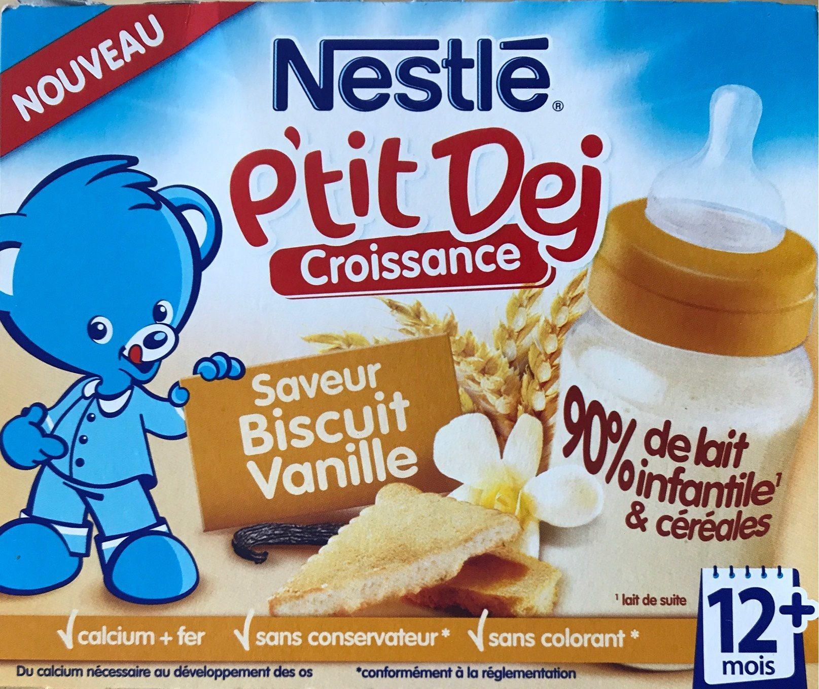 Brique Lait & Céréales Biscuit Vanille P'tit Dej Nestlé 2 x 250ML + - Produit - fr