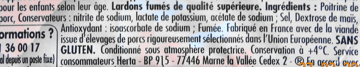 Lardons fumés Herta - Ingredients - fr