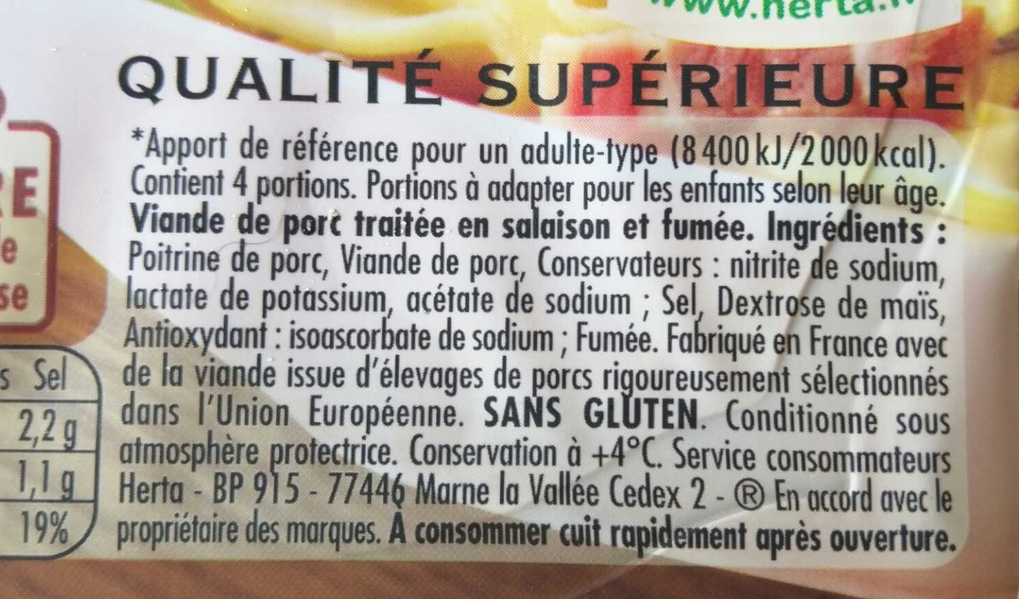 Allumettes Fumées - Ingredients - fr