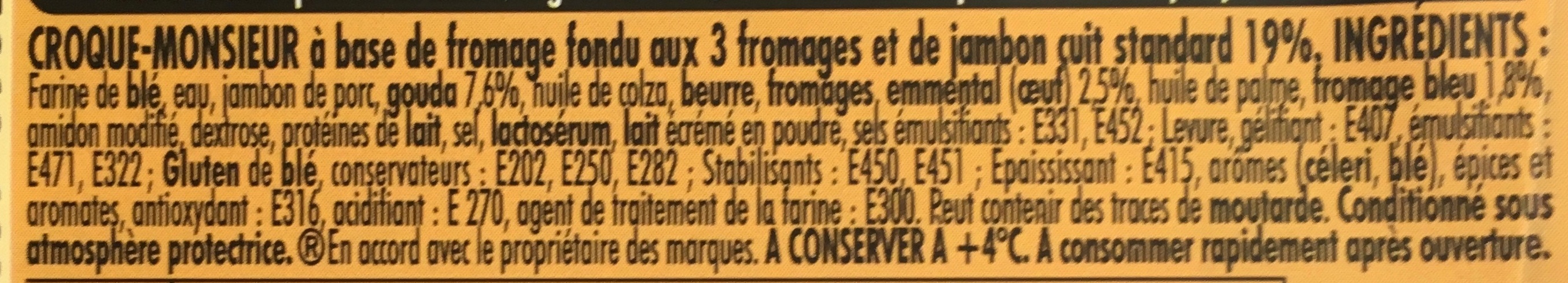 Tendre Croque 3 Fromages - Ingrédients - fr