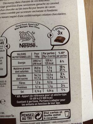 Les Recettes de l'Atelier - Chocolat au Lait Ganache Chocolat et Caramel - Información nutricional