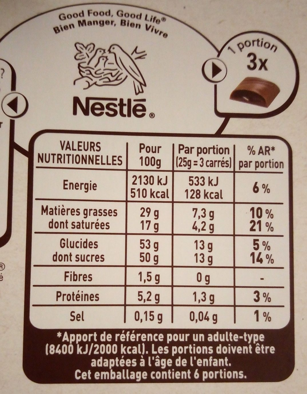 Les Recettes de l'Atelier - Chocolat au Lait Ganache Chocolat et Caramel - Informations nutritionnelles - fr