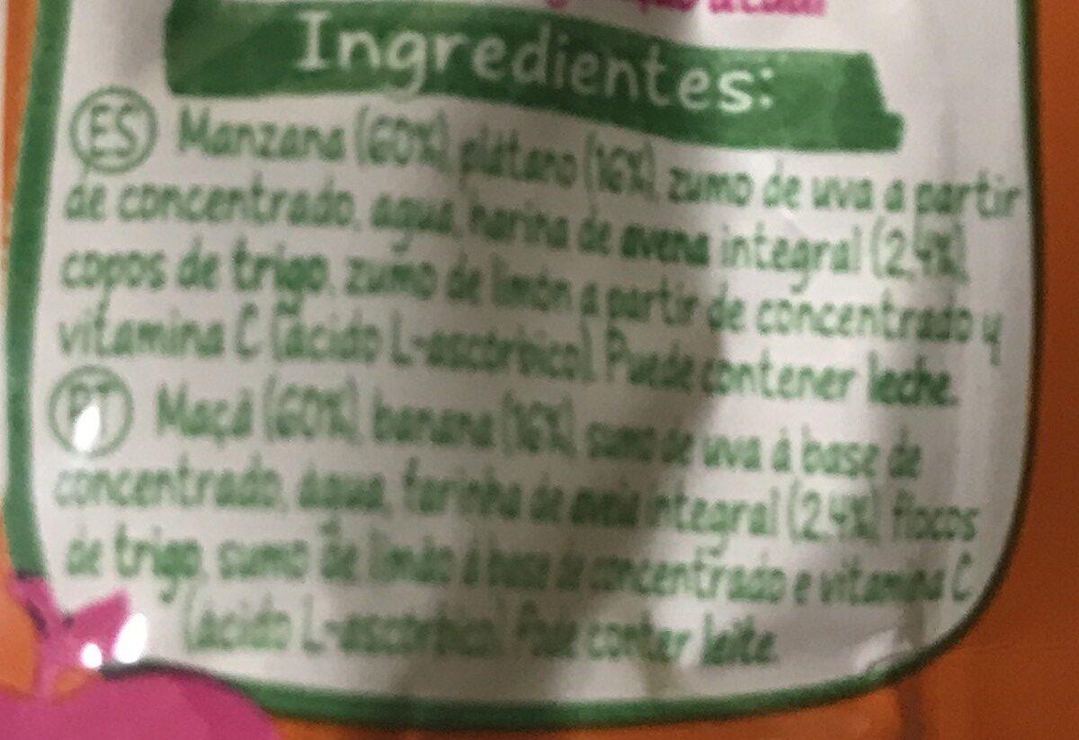 Naturnes manzana, plátano y avena - Ingredienti - fr