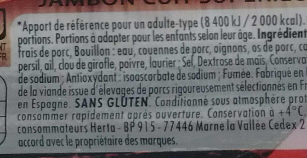 Le Bon Paris Fumé - Ingrédients - fr