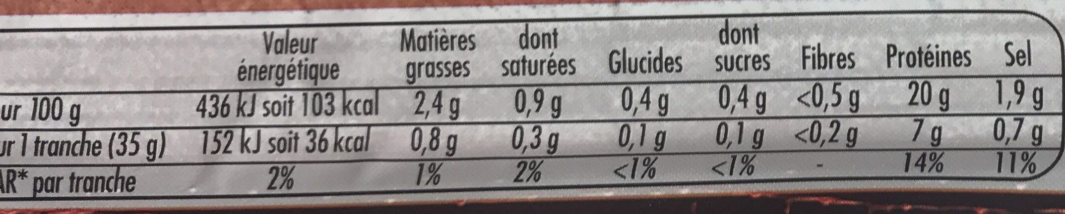 Le Bon Paris Fumé (6+2 gratuites) - Nutrition facts