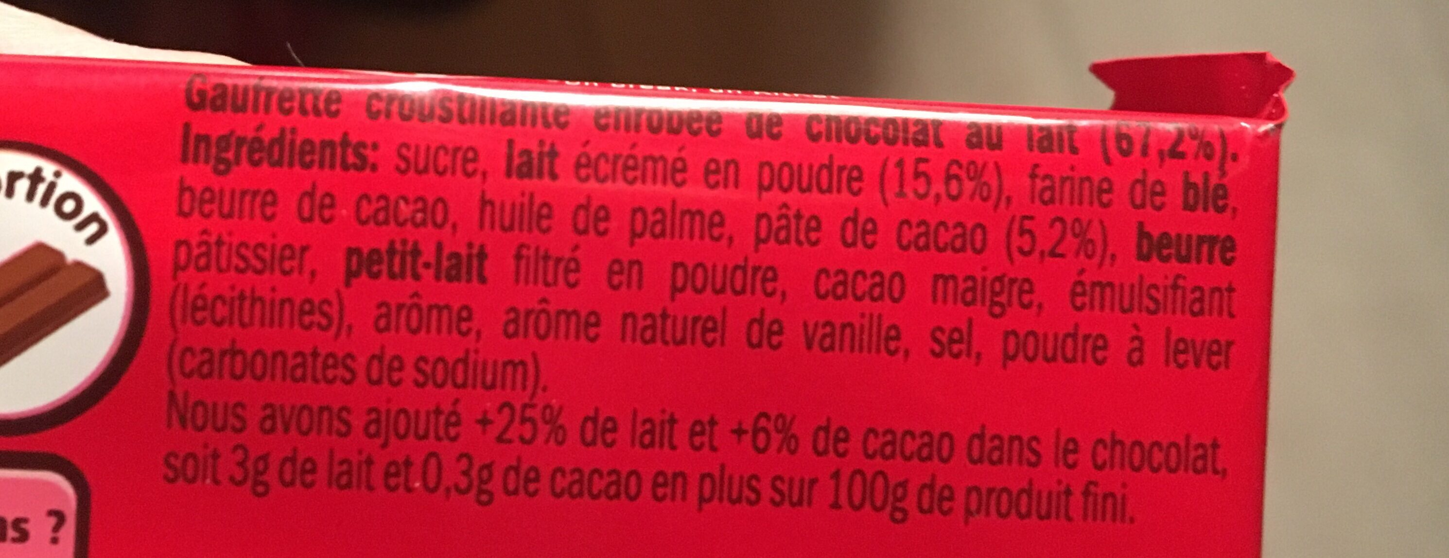 KitKat Barres chocolatées les 20 barres de 41,5 g - Ingrédients