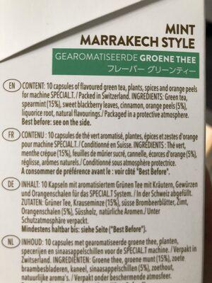 Thé vert menthe Marrakech - Informations nutritionnelles - fr