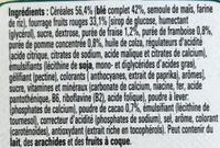 Fitness Delice Céréales croustillantes avec un coeur aux fruits rouges - Ingrédients