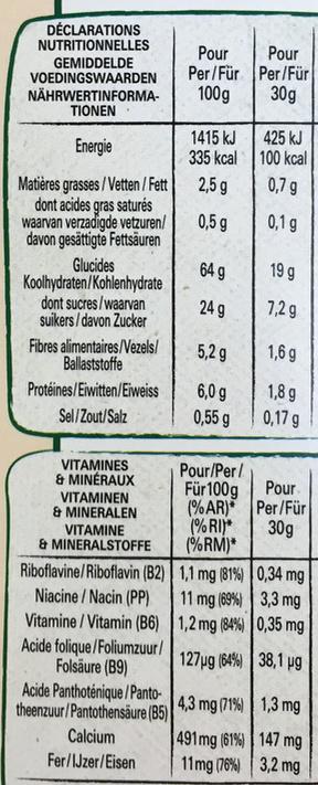 Fitness Delice Céréales croustillantes avec un coeur aux fruits rouges - Informations nutritionnelles