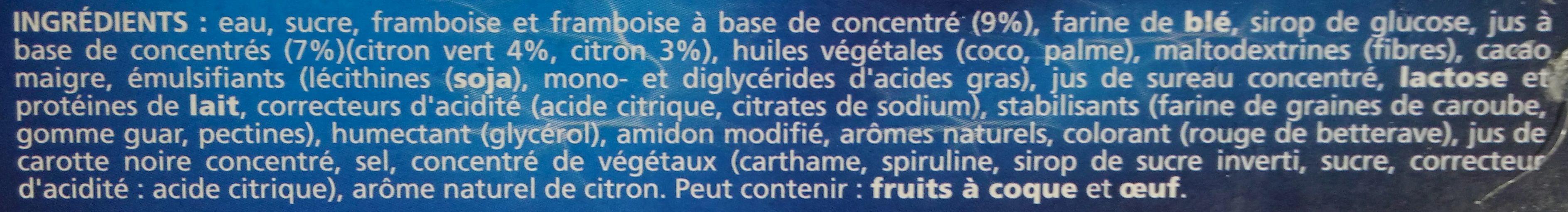 Sorbets Citrons Framboises - Ingredients - fr