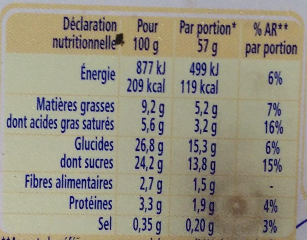 La Laitière Chocolat et Fleur de Sel - Informations nutritionnelles