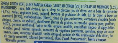 Sorbet Citron Meringué - Ingrédients - fr