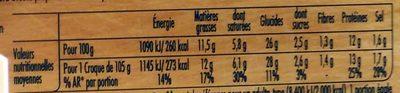 Tendre Croc' Comté - Informations nutritionnelles