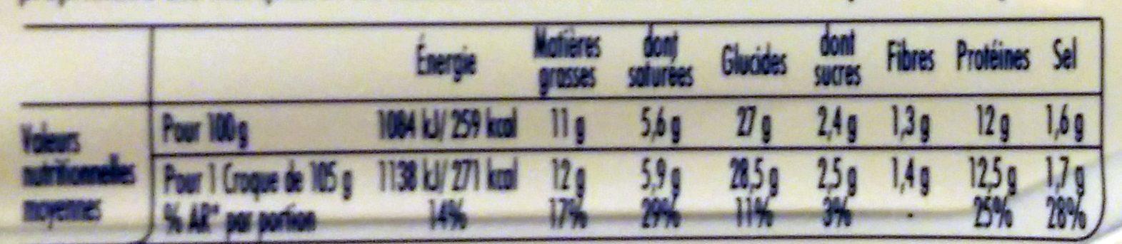 Tendre Croc' L'Original Jambon Fromage Format Familial - Informations nutritionnelles - fr