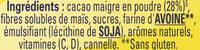 NESQUIK Moins de Sucres Poudre Cacaotée - Ingrediënten - fr