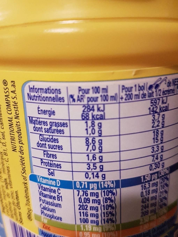 Nesquik moins de sucre - Nutrition facts
