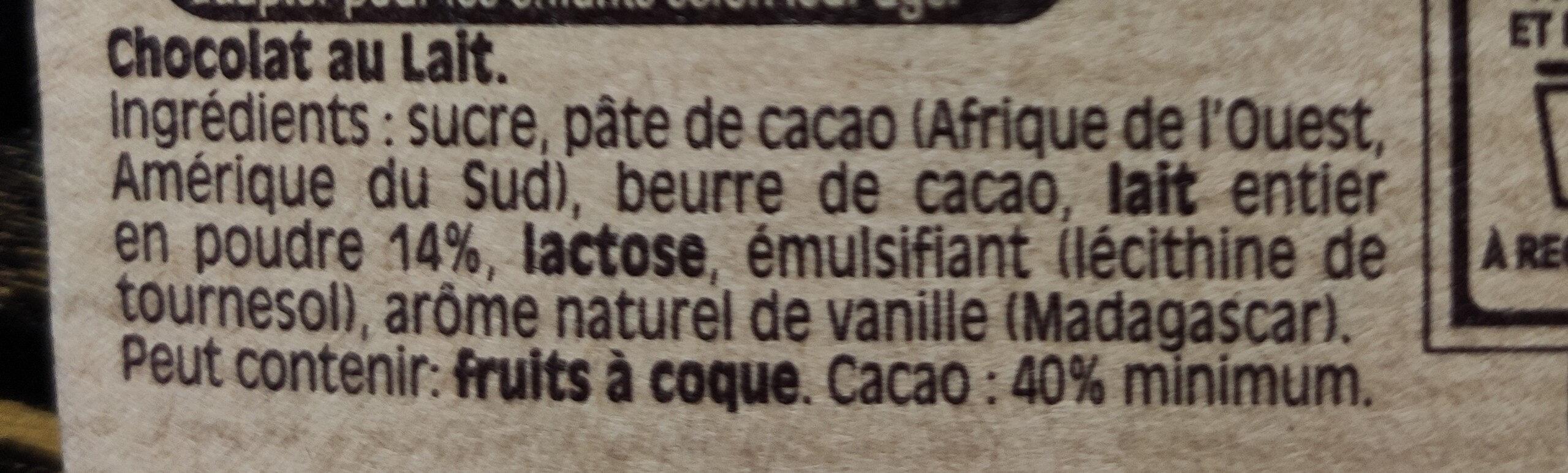 NESTLE DESSERT Chocolat au Lait - Ingrédients - fr