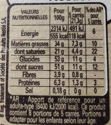 NESTLE DESSERT Chocolat au Lait - Informations nutritionnelles - fr