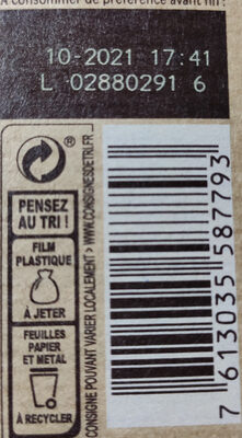 NESTLE DESSERT Chocolat au Lait - Recycling instructions and/or packaging information