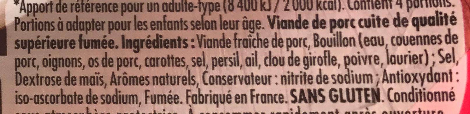 Le Bon Paris Tendre & Epais fumé - Ingrédients - fr