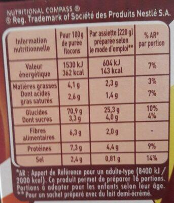 MOUSLINE Purée Crème Muscade 500g (4x125g) - Nutrition facts - fr