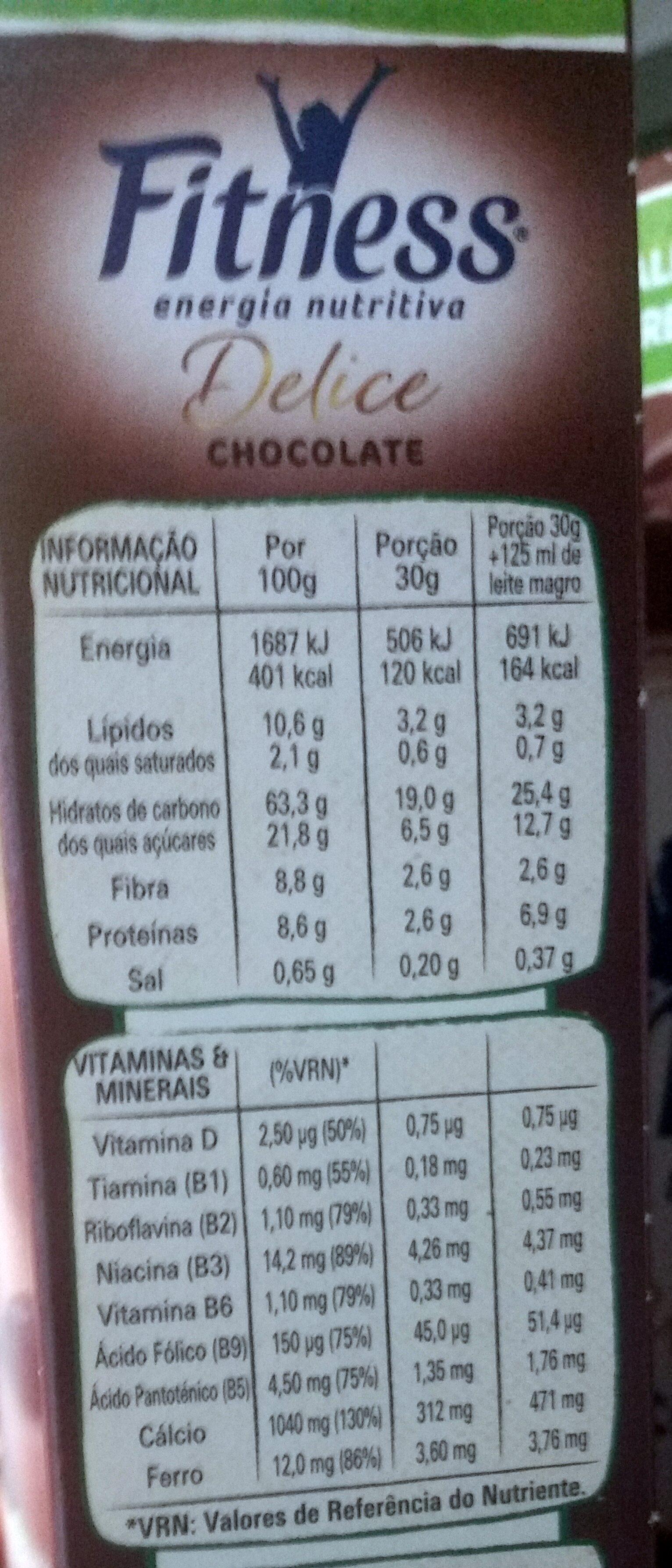 Fitness chocolate - Información nutricional - es