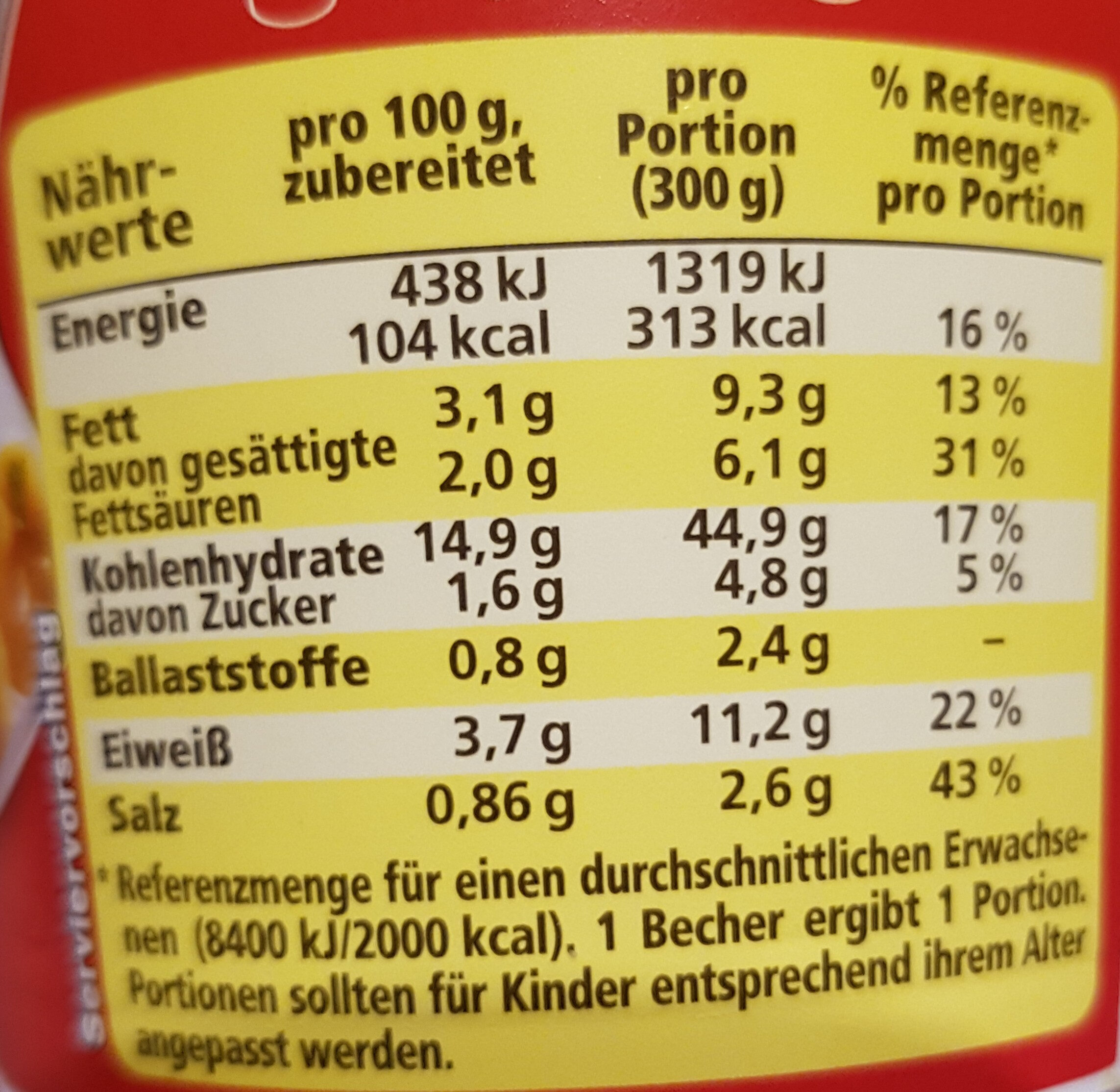 Maggi Nudeln in Rahmsauce - Informations nutritionnelles - de