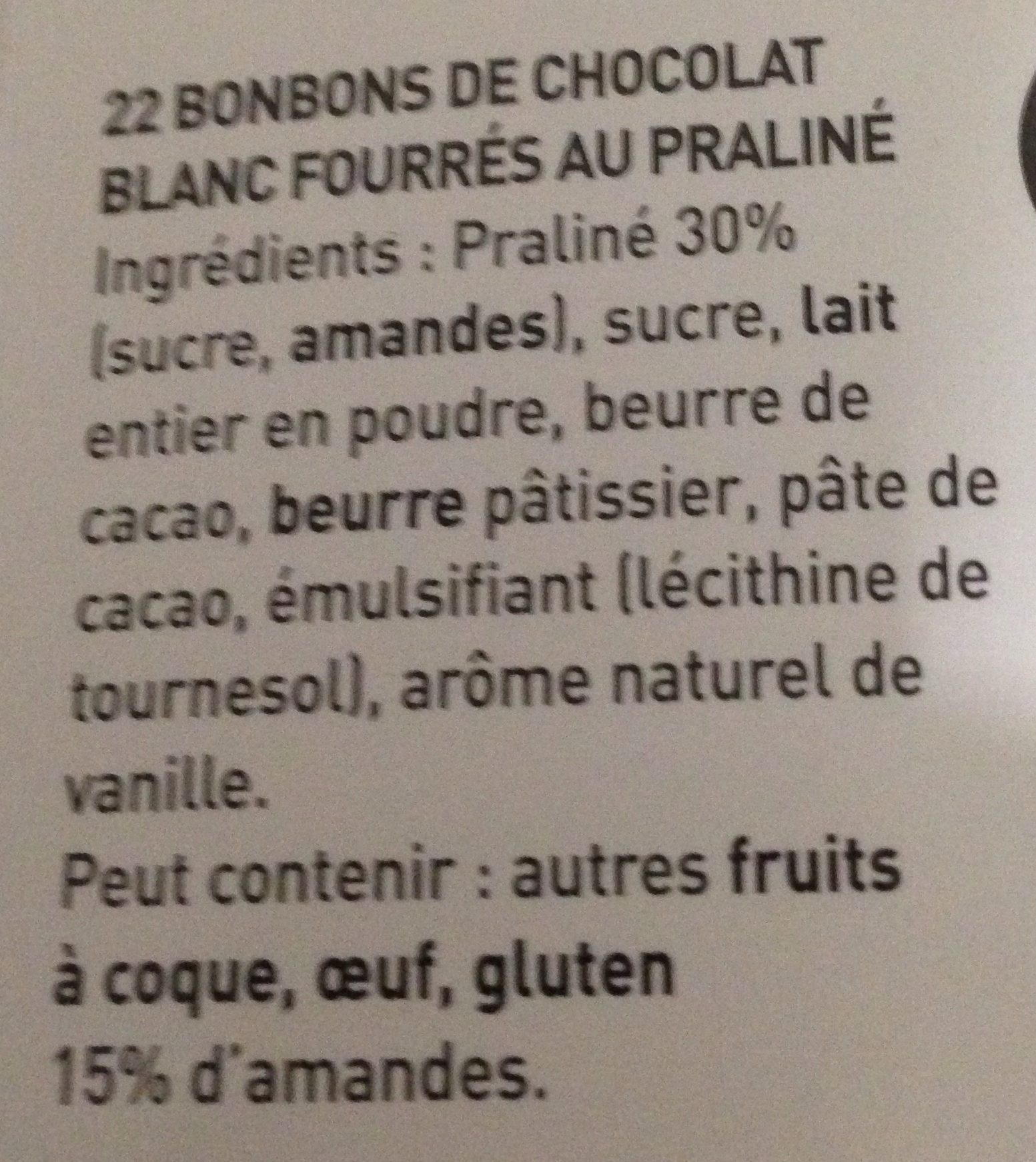 L'escargot Blanc - Ingrediënten - fr