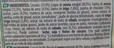 Copos de avena integral con pepitas de chocolate - Ingredientes