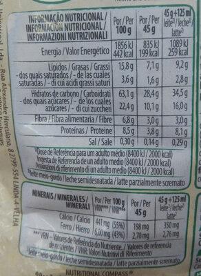 Copos de avena integral con pepitas de chocolate - Nutrition facts