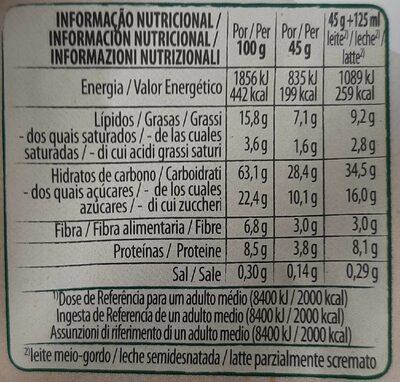 Copos de avena integral con pepitas de chocolate - Informação nutricional
