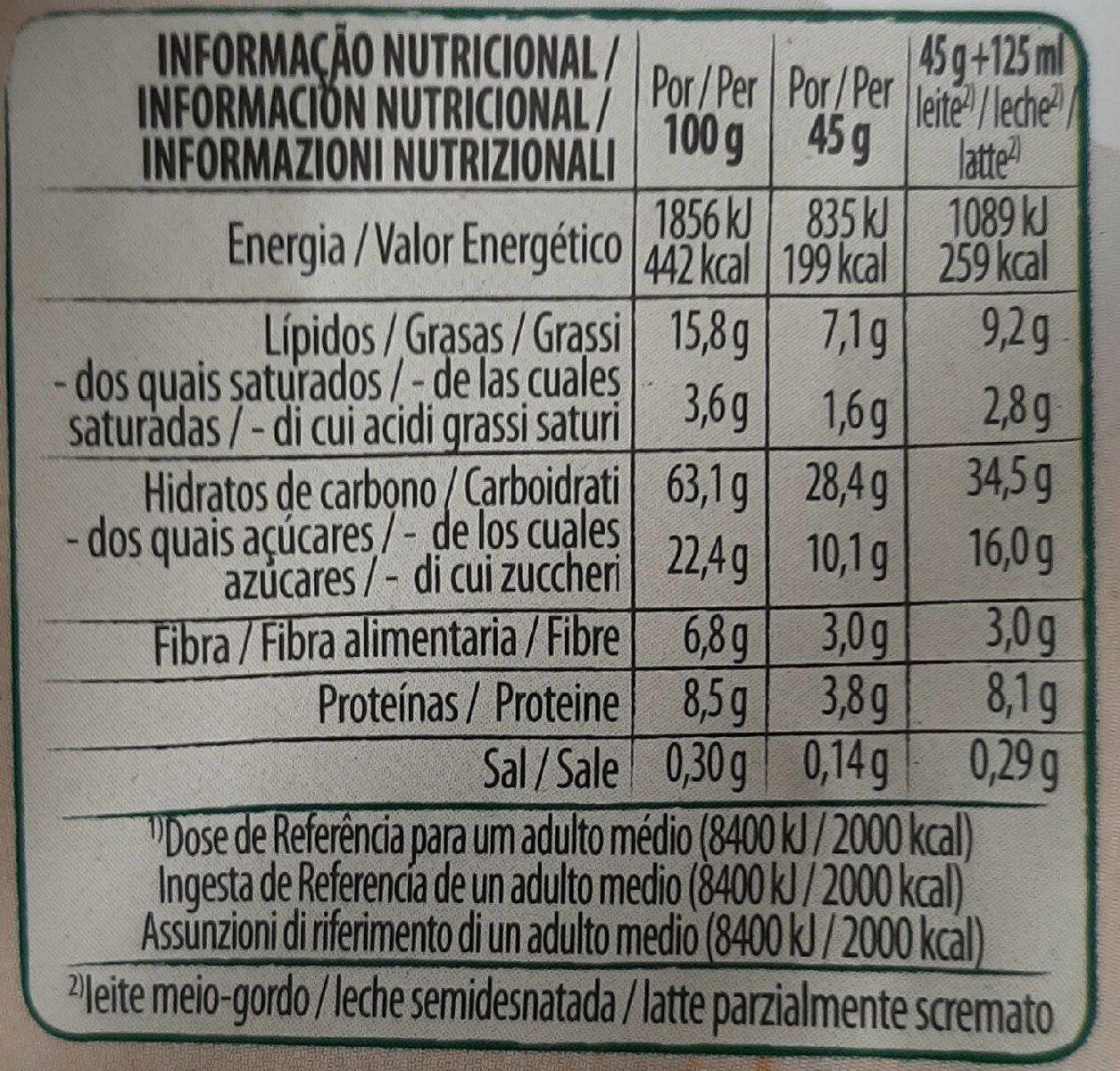 Copos de avena integral con pepitas de chocolate - Informação nutricional - es