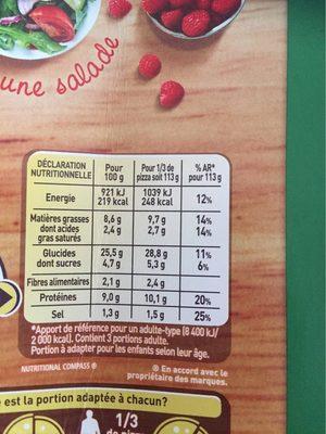 Pizza thon à la provencale - Nutrition facts