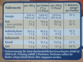 Die Backfrische Pilz Trio - Nutrition facts