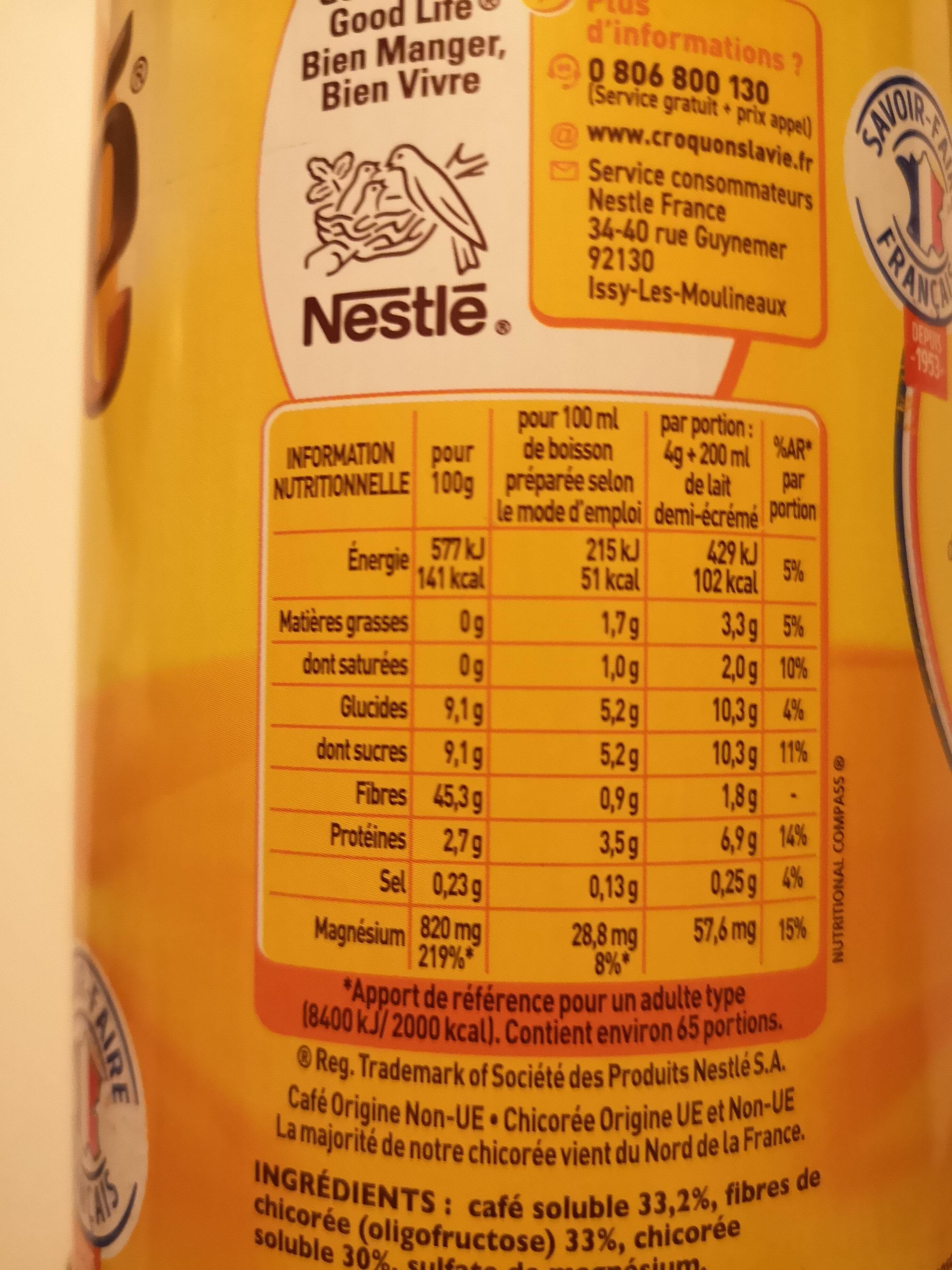RICORE Original boite 260g - Información nutricional - fr