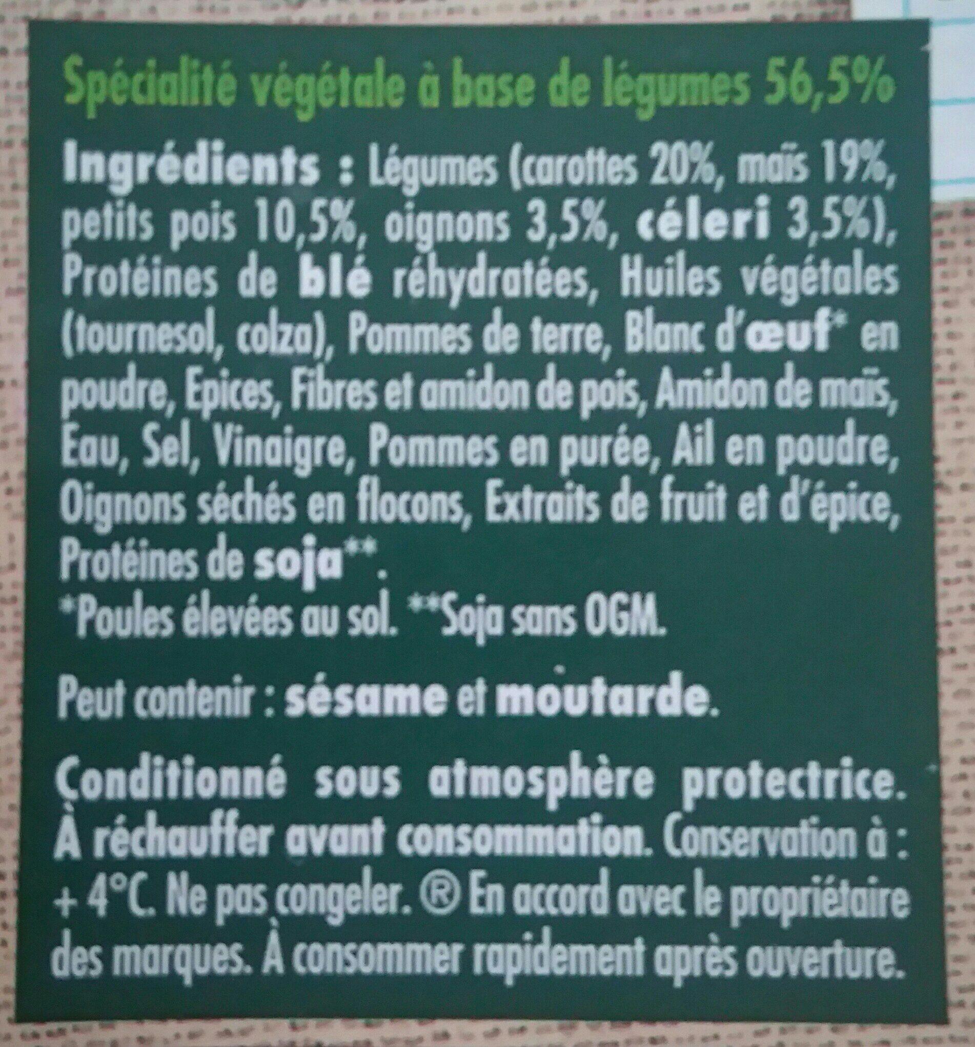 Le Bon Végétal - Galette aux Légumes - Ingrédients - fr