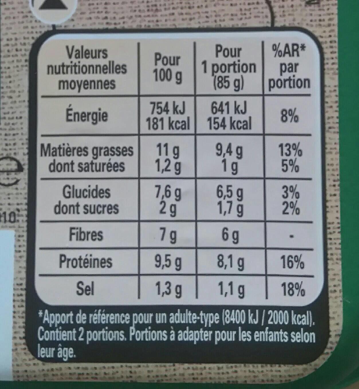 Le Bon Végétal - Galette aux Légumes - Informations nutritionnelles - fr