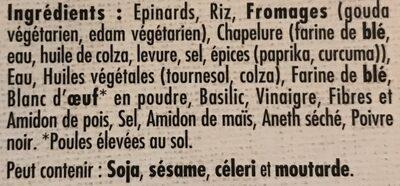 Le bon végétal épinards et fromage - Ingrédients