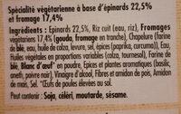 Le bon végétal épinards et fromage - Ingrédients - fr