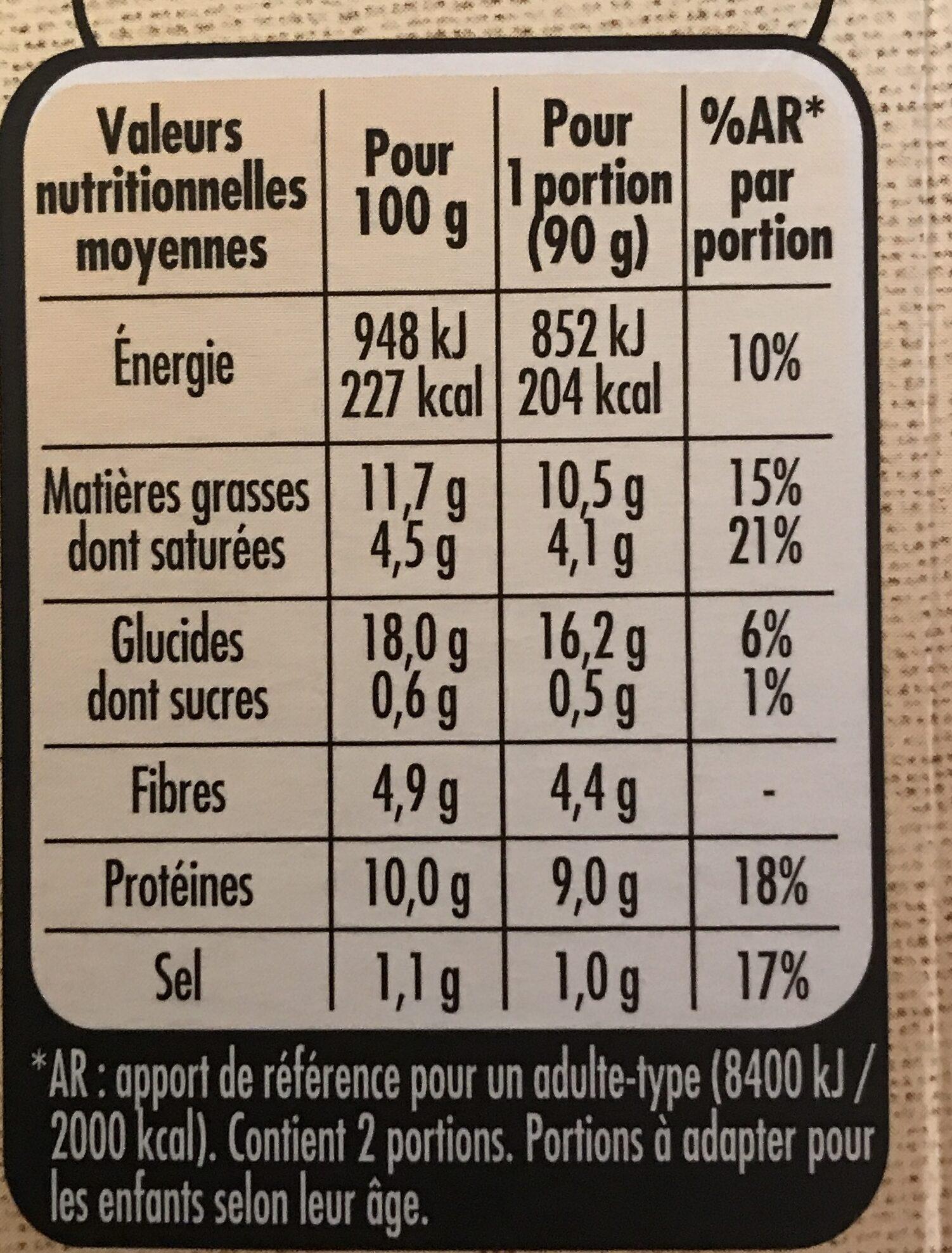 Le bon végétal épinards et fromage - Informations nutritionnelles