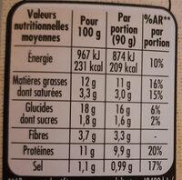Le bon végétal épinards et fromage - Informations nutritionnelles - fr