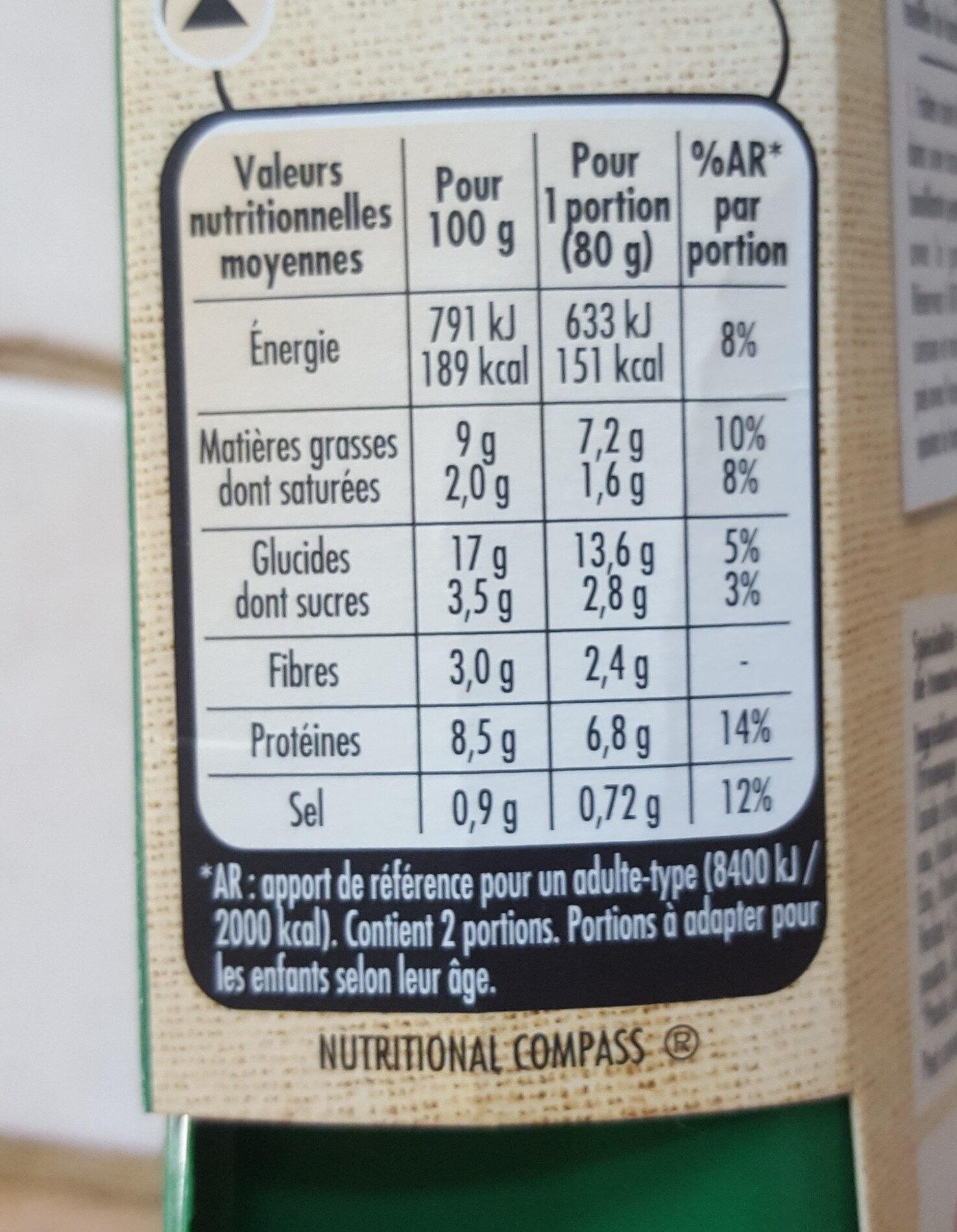 Carré gourmand Tomates et Mozzarella - Informations nutritionnelles