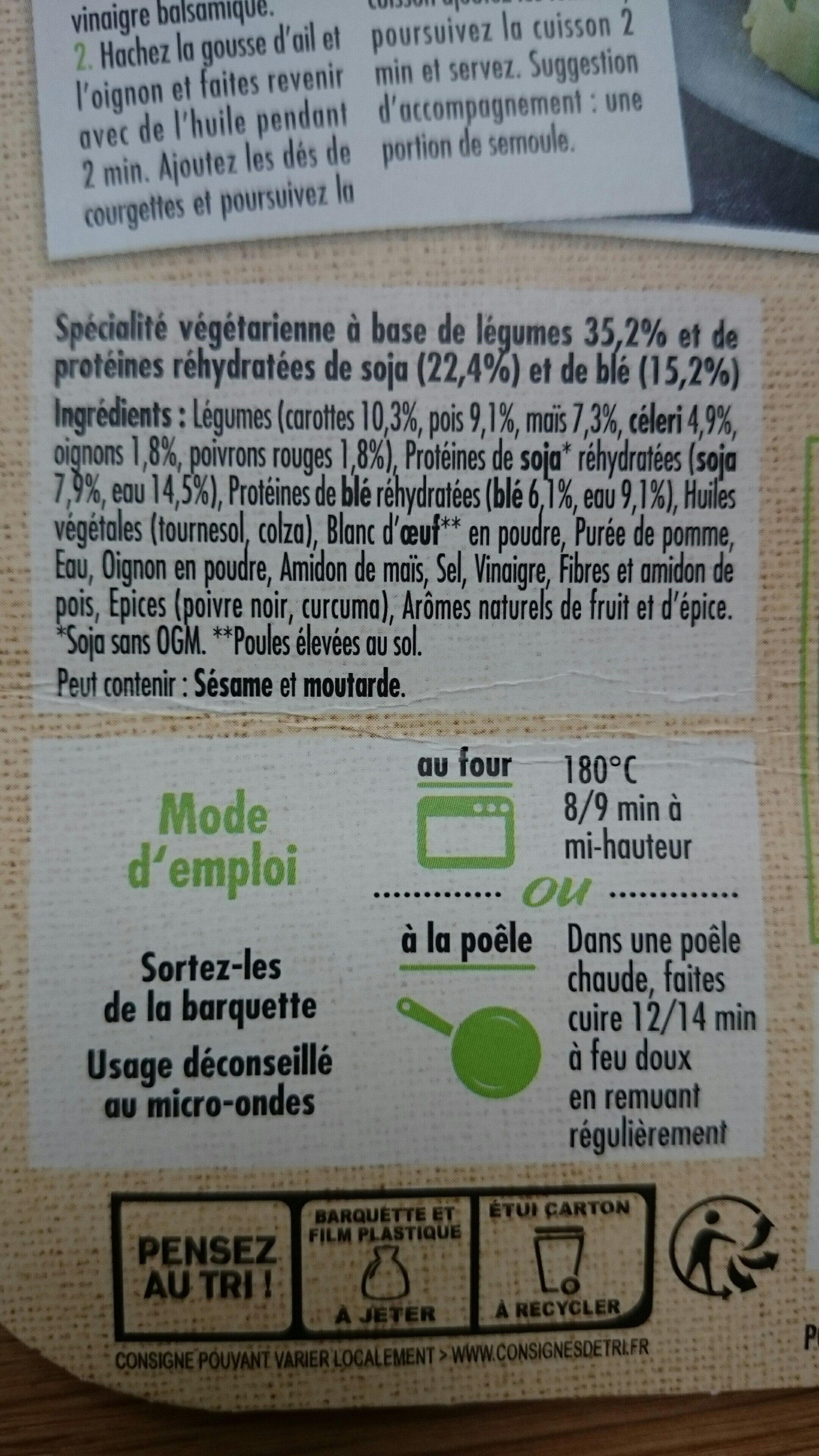 Boulettes aux légumes - Ingrédients - fr