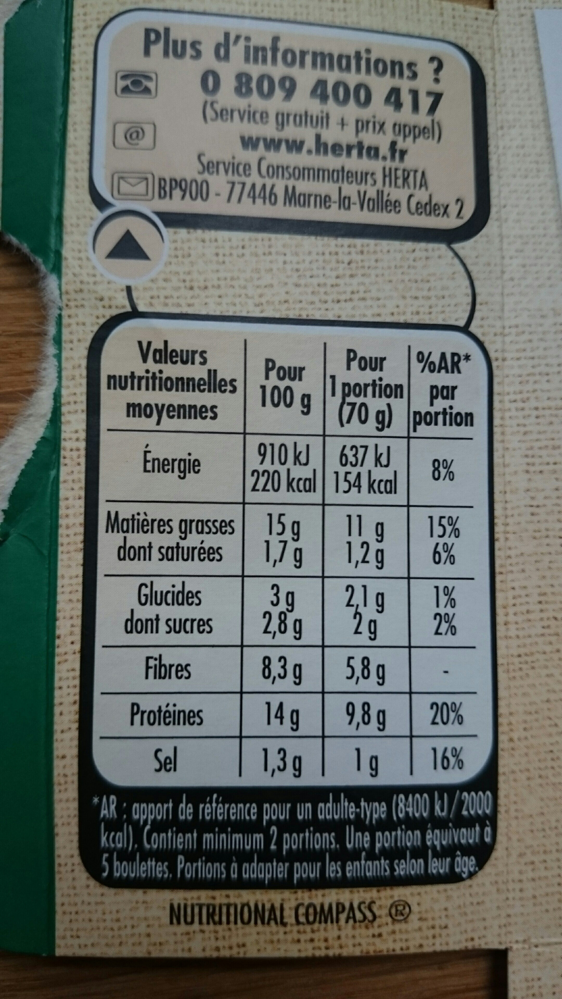 Boulettes aux légumes - Informations nutritionnelles - fr