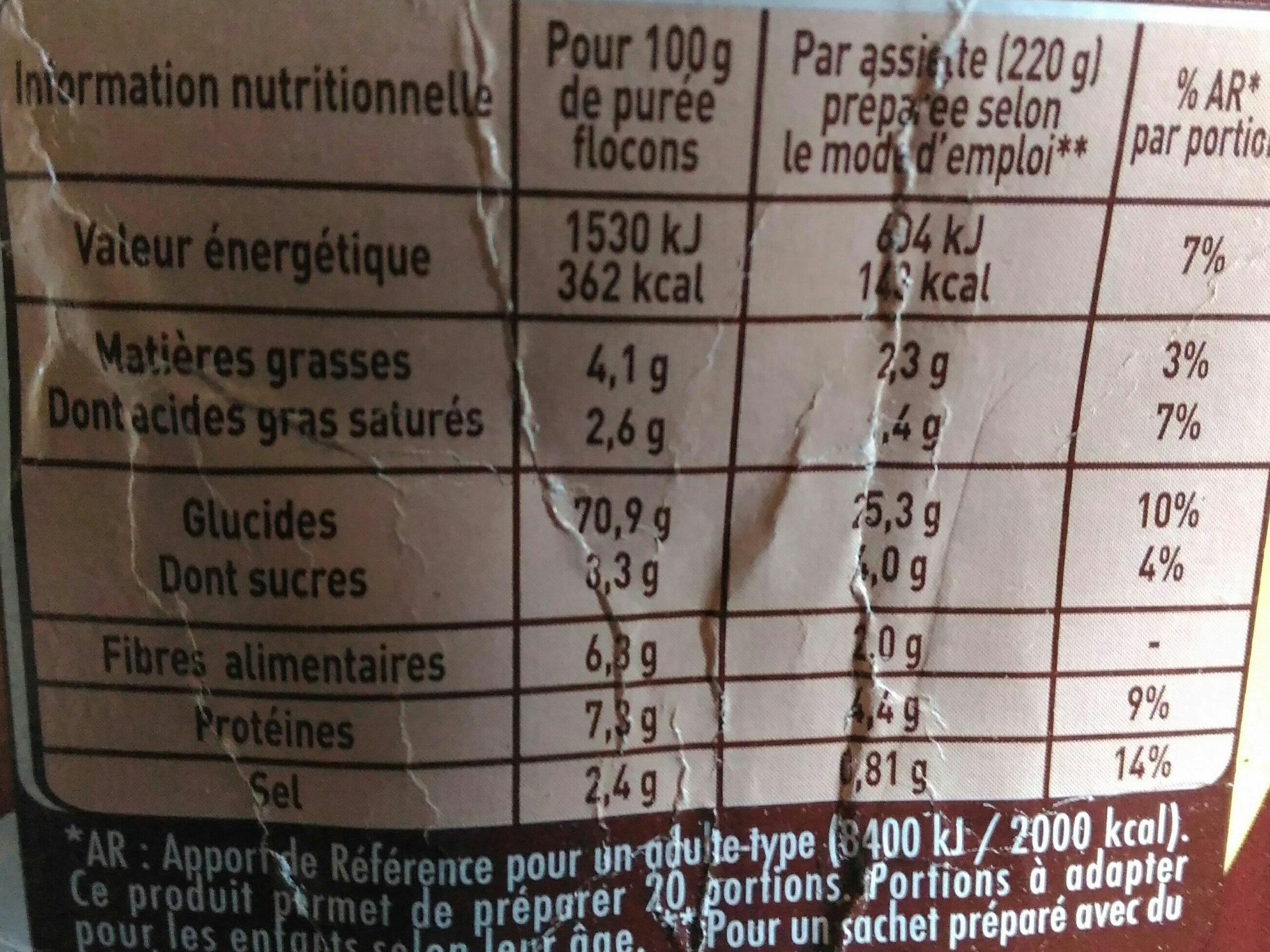Purée en flocons de Pommes de terre, crème & noix muscade Mousline - Nutrition facts - fr