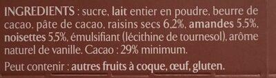 Chocolat au lait Raisins, Amandes & Noisettes - Ingredienti - fr