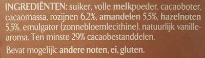Chocolat au lait Raisins, Amandes & Noisettes - Ingrediënten
