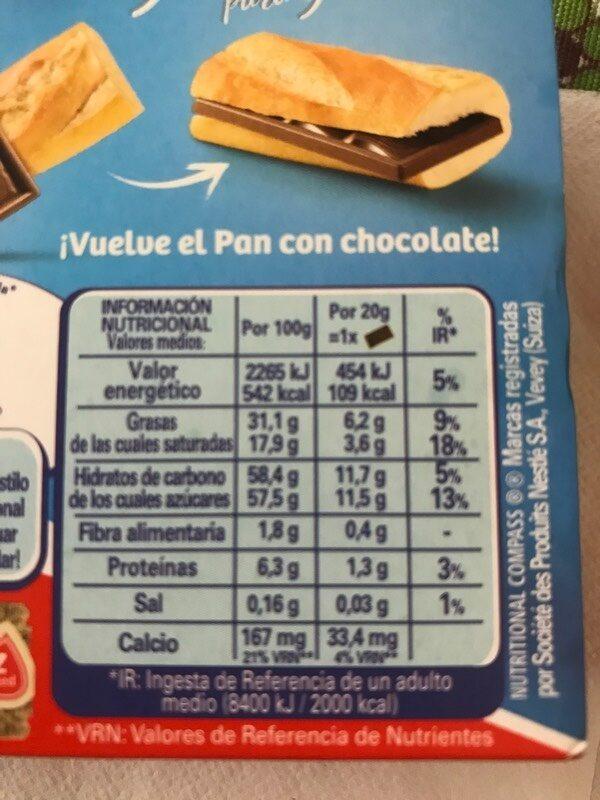 Chocomeriendas chocolatinas de chocolate con leche sin gluten - Informations nutritionnelles - es