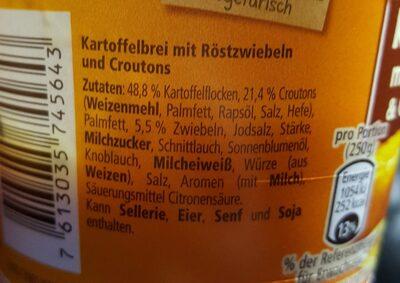 Kartoffelbrei mit Röstzwiebeln & Croutons - Inhaltsstoffe