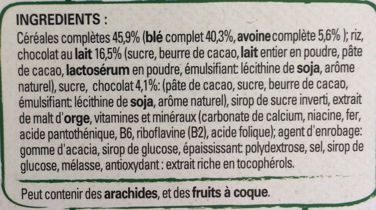 Fitness Chocolat au Lait - Ingrédients - fr